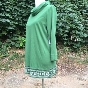 Kim Rogers Tops - Cowl Neck Embroidered Long Sleeve Tunic Top M